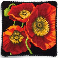 Use the Dimensions Red Poppy Trio Needlepoint Kit 14 x 14 to stitch and display a gorgeous needle art for your mantel or living room wall. The eye-catching design by Shirley Novak allows crafters of a Needlepoint Stitches, Needlepoint Pillows, Needlepoint Kits, Needlepoint Canvases, Needlepoint Designs, Wool Embroidery, Japanese Embroidery, Embroidery Tools, Hydrangea Bloom
