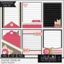 Journal or Pocket Scrapbooking Cards Layered Templates Pack No 4