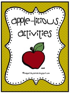 Sarah's First Grade Snippets: I Love Apples! Free Apple-licious Activities