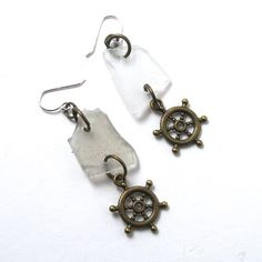 White Sea Glass Earrings with Antiqued by MermaidTearsSeaglass, $12.00