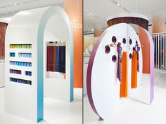 Diverting away from the typically rigid nature of retail through curved lines and cut-outs, we re-worked the traditional accessory display into new formations allowing the products to become sculptures in themselves.