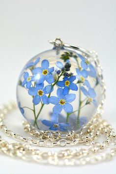 Forget-me-not Pendant Blue Flower Pendant Nots Resin