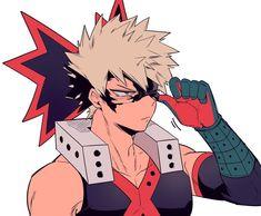 """Bakugou """"damn now everyone knows I put on eyeliner behind my hero mask"""" Katsuki"""