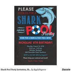 Shark Pool Party Invitation Shark Invitation