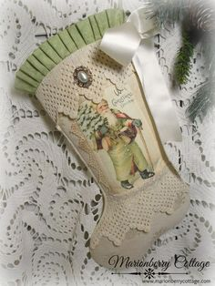 Vintage Santa dressed in green With Christmas Wishes stocking