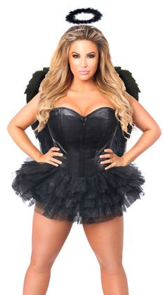 Get in touch with your dark side in this plus size Flirty Dark Angel costume…