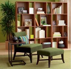 Book shelf is the room divider.