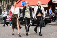 Tilda Lindstam, Julia Nobis, Hanne Gaby Odiele after Valentino Couture FW13, July 2013, Paris Photo: Melodie Jeng