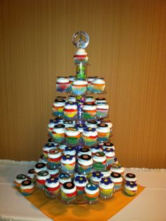 60's Groovy party cupcake tower