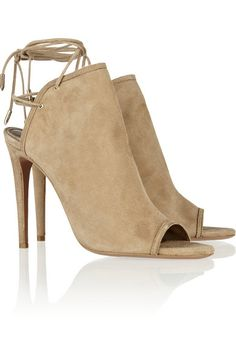 Heel measures approximately 110mm/ 4.5 inches Sand suede Round open toe Lace-up back