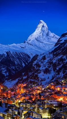 Good night Matterhorn, Zermatt, Switzerland (by Weerakarn). Beautiful and peaceful Zermatt. Zermatt, Places Around The World, The Places Youll Go, Places To See, Around The Worlds, Dream Vacations, Vacation Spots, Vacation Travel, Travel Europe