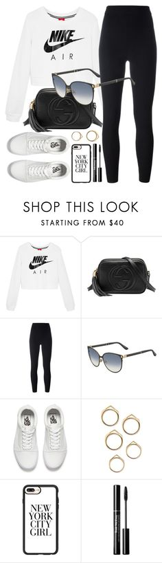 """""""Sporty"""" by smartbuyglasses ❤ liked on Polyvore featuring NIKE, Gucci, adidas Originals, Jimmy Choo, Vans, Casetify, white, black and sporty"""