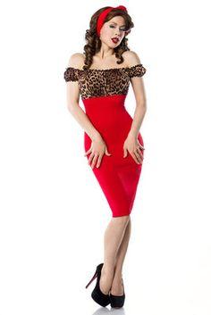 Vintage tijgerprint jurk rood