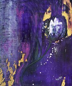"Where ART Lives Gallery Artists Group Blog: Abstract Environmental Art , Purple Flower Painting ""Beauty Junkie"" by International Artist Arrachme"
