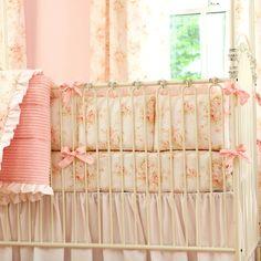 Shabby Chenille Crib Bumper | Pink Floral Crib Bumper | Carousel Designs