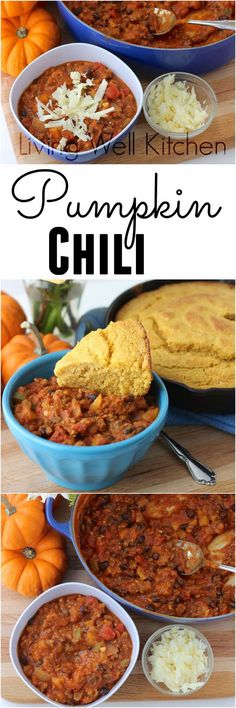 Pumpkin is a great addition to savory recipes too! Try it in you chili for a boost of flavor and nutrition. Pumpkin Chili from Living Well Kitchen @memeinge