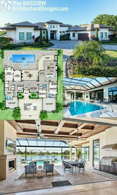 Designs House Plan offers fantastic indoor/outdoor living when you open the back wall to the outdoor living room and enjoy barrier-free entertainment. Where do YOU want to build? Specs-at-a-glance 3 beds 3 full and 2 half baths sq. Florida House Plans, Pool House Plans, Best House Plans, Dream House Plans, Modern House Plans, Florida Home, House Plans Mansion, Home Plans, Sims 3 Houses Plans
