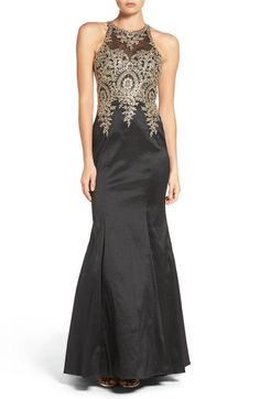 Main Image - Xscape Embellished Taffeta Gown (Regular & Petite)