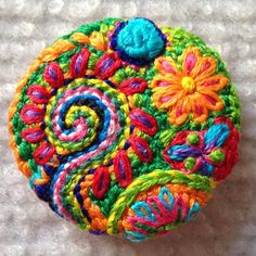 Freeform embroidery circle brooch bright floral by Lucismiles, $23.00