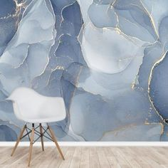 Overlapping Shades of Blue Mural | Wallsauce US