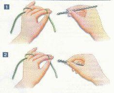 """Catenella. La posizione del filo è importante perchè serve a dare la giusta tensione al lavoro: tenetelo con la mano sinistra tra il pollice e l'indice, passatelo sotto il medio, sopra l'anulare e il mignolo. L'uncinetto va tenuto con la mano destra, tra il pollice e l'indice e si può tenere in due diversi modi. 1) Impugnatura a """"matita"""" 2) Impugnatura a """"ferro da calza"""" #imparauncinetto #conlemani"""