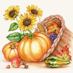 Cornucopia filled with pumpkins and fall veggies on a paper napkin for decoupage Autumn Painting, Autumn Art, Fruit Basket Drawing, Thanksgiving Art, Autumn Illustration, Colouring Pics, Fall Pictures, Whimsical Art, Fall Pumpkins