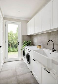 A very clean and modern laundry room that is perfect in a narrow space.A very clean and modern laundry room that is perfect in a narrow space.A very clean and modern laundry room that is perfect in a narrow space.There are several tasks in life which Room Renovation, Room Design, Laundry Mud Room, Mudroom Laundry Room, Room Makeover, Laundry Room Layouts, Interior, Dream Laundry Room, Laundry Room Renovation