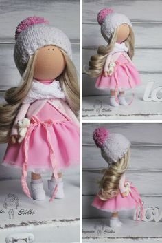 Art doll pink white blonde Collectable doll by AnnKirillartPlace