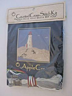 Peggy's Cove Lighthouse Apple Cross Stitch Kit New Cross Stitch Kits, Lighthouse, Stamp, Apple, Ebay, Bell Rock Lighthouse, Apple Fruit, Light House, Stamps