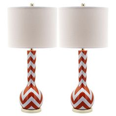 Cass Table Lamp in Blood Orange (Set of 2)