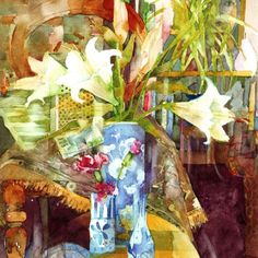 Any-occasion greetings card illustrated with a still life painting of white lillies and blue china by Shirley Trevena