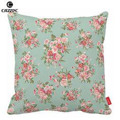 Verde belleza rosa rosa Print Floral sin fisuras coche decorativo funda de almohada fundas de almohada fundas de cojines de sofá silla decoración para el hogar