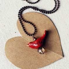 red LOVE bird Valentine necklace handmade by kylie parry studios on Etsy, $22.00
