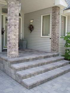 55 Trendy How To Make Concrete Stairs Front Steps Front Porch Makeover, Porch Steps, Stone Porches, Concrete Front Steps, House Exterior, Front Patio, Exterior Stairs, Front Porch Design, Concrete Stairs