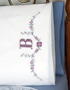 "Monogram Pillowcases - 2 standard size (20"" x 30"") Stamped Cross Stitch and Embroidery Kit"