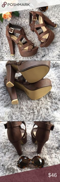 "🆕Brown Strappy Heels. IM OBSESSED! I bought these from Poshmark for an event and never wore them and they have been sitting in my closet since. They NEED a new home. They were advertised as new and I never wore them. Please notice last pic that the lining on the shoes is coming up slightly from storage. 5"" heel and 1.5"" platform. Leila Stone Shoes Heels"