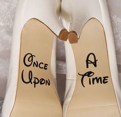 Wedding shoe decals. These decals are made out of a durable vinyl. They are personalized for you. The Once Upon measures approximately 1.8 inches in height and approximately 1.5 inches in length. The A Time measures approximately 1.8 inches in height and