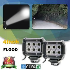 Buy online US $16.00  CO LIGHT 2Pcs Led Car Lights 18W Led Light Bar Flood Beam Led Chip 4Inch Dc 12V 24V With Zero Shipping Cost For 4X4 Offroad Car