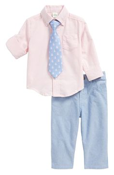 Main Image - Little Me Oxford Shirt, Pants & Tie Set (Baby Boys)
