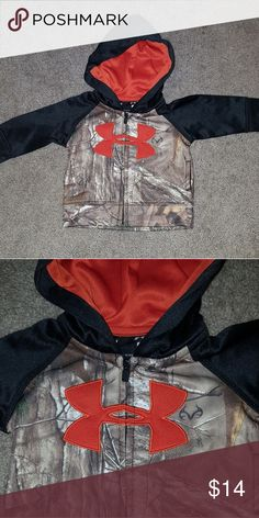 UA 0/3M zip hoodie Silky material, NWOT. Adorable camo Under Armour zip hoodie. Smoke and pet free home. Under Armour Shirts & Tops Sweatshirts & Hoodies