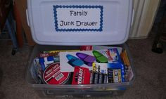 Wedding shower gift - 'Junk Drawer'.....you can add any useful household items.  Some I included were duct tape, super glue, batteries, pens, markers, etc.