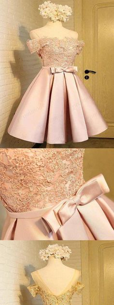 Quinceanera Dress Off-The-Shoulder Pink Lace Homecoming Dresses ,Short Homecoming Off-The-Shoulder Pink Lace Heimkehr Kleider, kurze Heimkehr Kleider, Quinceanera Dresses Blush, Dama Dresses, Blush Pink Dresses, Quince Dresses, Hoco Dresses, Trendy Dresses, Sexy Dresses, Cute Dresses, Beautiful Dresses