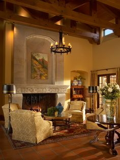 Living space by fireplace :: Janet Brooks Design | Scottsdale, AZ | Luxury Interior Design