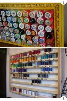 Idées de rangement des bobines et canettes - pour ceux et celles qui ont la chance d'avoir un atelier de loisirs créatifs !