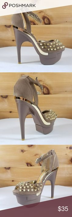 """Mona Mia taupe gold spike contoured high heel shoe 5.75"""" contoured heels, gold spiked toe strap. Closed back design with single ankle strap. More great styles at TWF.SHOES Mona Mia Shoes Heels #tananklestrapsheels"""