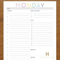 Printable Daily Schedule & To-Do List DIY di MonicaMyersDesigns