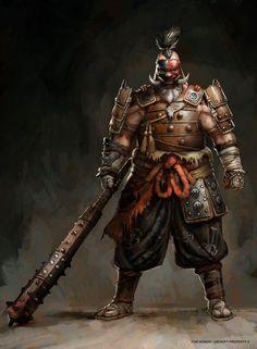 Cool Japanese samurai orc brute far East