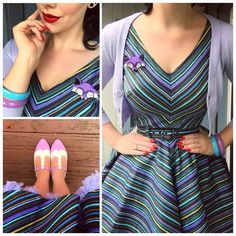 My Week In Outfits! - Miss Victory Violet Rockabilly Fashion, Retro Fashion, Vintage Fashion, 50s Rockabilly, Blue Dresses, Vintage Dresses, Vintage Outfits, Vintage Shoes, Bettie Page Shoes