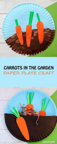 Carrots in the garden craft for kids. Easy paper plate spring or Easter craft for toddlers and preschoolers. | at Non-Toy Gifts