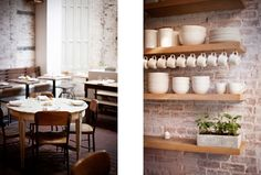 Inspiration: The Fat Radish NYC (light and wood, exposed brick, white, subway tiles with dark grout, open shelving, cararra marble counters)